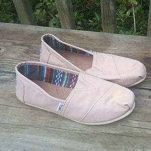 Toms Beige slip on Canvas shoes Size 8W